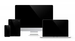 Illustration von einem Tablet, Laptop, Smartphone und PC